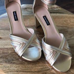 Nine West Pearl Woven Block-Heel Sandals Size 9.5